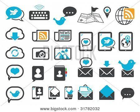 Celular, e-mail, chat e ícones de comunicação moderna