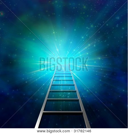Ladder leads into light represents a goal