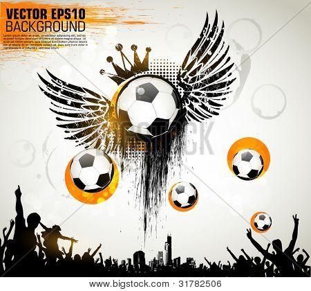 Acción de futbolista en fondo abstracto hermoso. Serie de deportes de la ilustración de Vector original. C