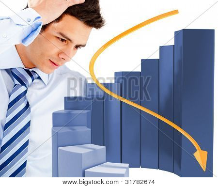 Worried business man with a graph decreasing - isolated over a white background