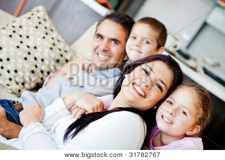Beautiful family portrait spending time together at home
