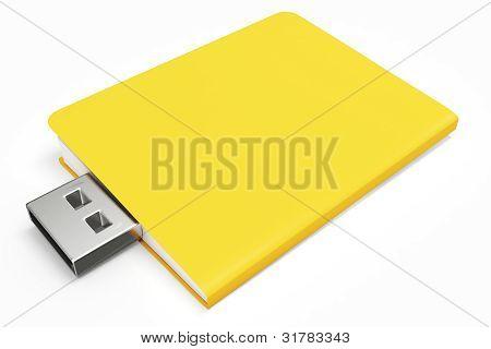 3D Yellow Usb Folder Concept