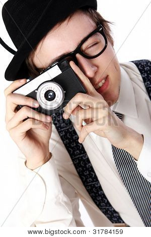Old fashioned photographer over white background