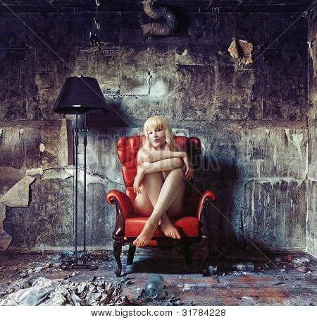 young naked women, sitting in red vintage armchair (Photo and hand-drawing elements combined)