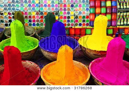 Colorful tika powders in a market of India , Asia
