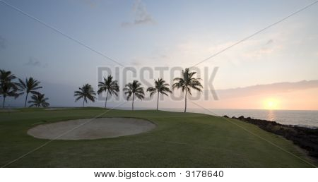 Hawaii Golfplatz Sunset Panorama