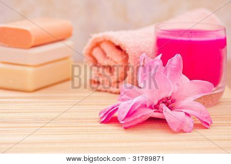 Daily Spa Objects, Towel, Soaps, Candle, Flower