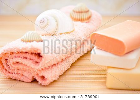 Daily Spa Objects, Towel, Soaps, Shells