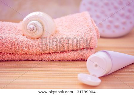 Daily Spa Objects, Towel, Masseur, Shell, Lotion