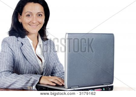 Woman Working On A Laptop Computer