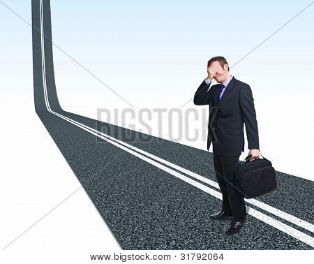 stressed man and 3d asphalt street