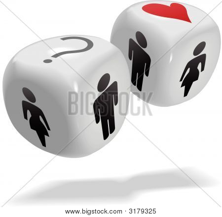 Lucky In Love People Chance Game Dice Cubes