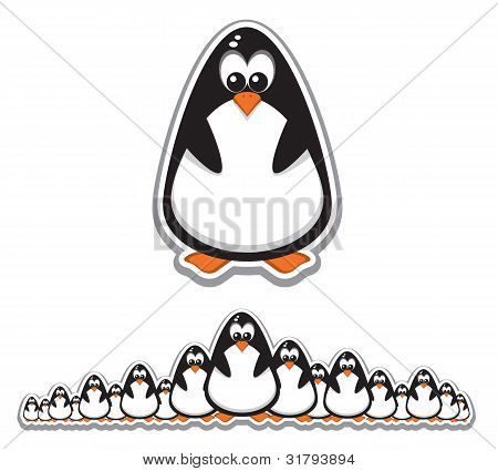 Crowd Of Cute Penguins