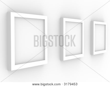 3D Picture Gallery With Frameworks Of White Color
