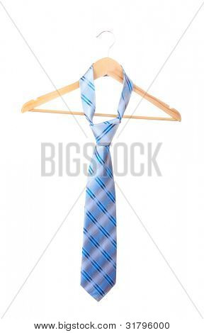 Elegant blue tie on wooden hanger isolated on white