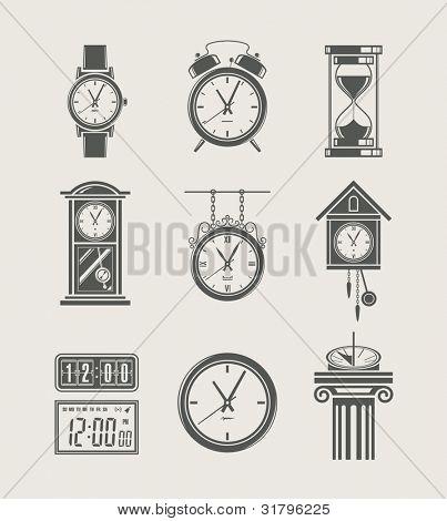 reloj retro y moderno sistema ilustración de vector icono