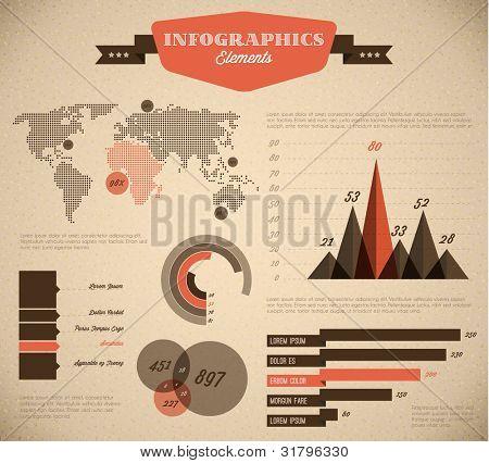 Marrón y rojo Vector retro / vintage conjunto de elementos de infografía para sus documentos e informes