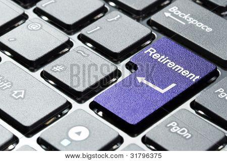 lila Ruhestand Taste auf der Tastatur