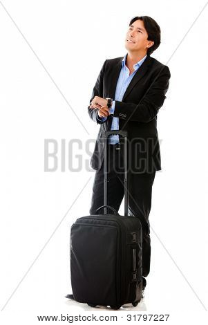 Man going on a business trip with bag - isolated over a white background