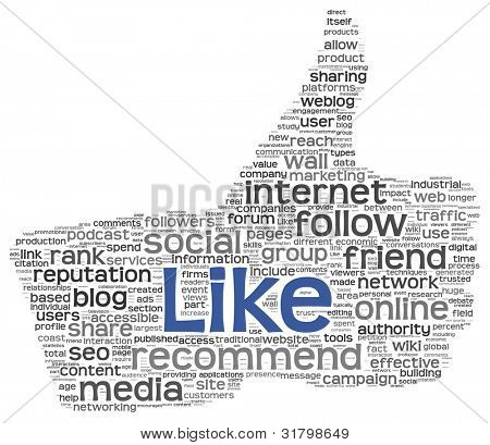 Like concept as social media symbol in tag cloud of thumb up shape. Isolated on white background