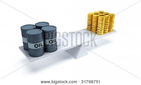 black oil barrels and money counterbalance each other on the scales