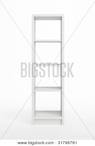 modern white bookcase, 3d render