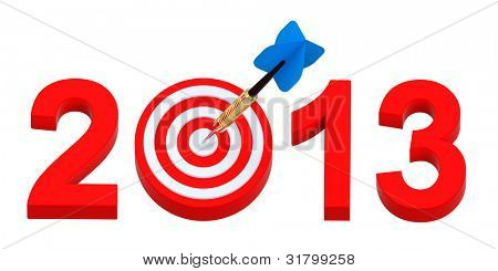 Dart hitting target - New Year 2013 isolated on white. Computer generated 3D photo rendering.