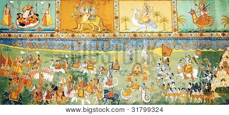 Colorful Rajput Indian mural painting in the fort of Jodhpur, Rajasthan