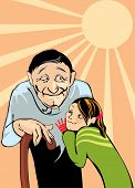 picture of niece  - vector image of grandfather and niece - JPG