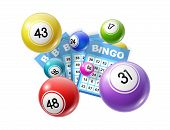 Bingo Lotto Game Balls And Lottery Cards With Lucky Numbers. Vector Poster For Bingo Lottery Tv Show poster