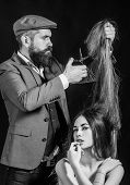 Hairdresser Make Fashion Hairstail. Beautiful Model With Very Long Hair. Hairdresser, Beauty Salon.  poster
