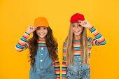 Modern Fashion. Kids Fashion. Girls Long Hair Wear Cap. Cute Children Wear Cap Snapback Hat. Little  poster
