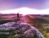 Tall Man In Sports Clothes Enjoy Morning View Into Pure Nature Landscape. Guy Clear His Soul.  Abstr poster