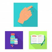 Isolated Object Of Symptom And Disease Logo. Set Of Symptom And Treatment Stock Symbol For Web. poster
