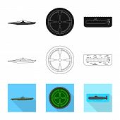 Vector Illustration Of War And Ship Icon. Collection Of War And Fleet Stock Symbol For Web. poster