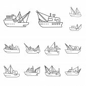 Vector Design Of Commercial And Vessel Logo. Collection Of Commercial And Speedboat Stock Vector Ill poster