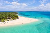 Seascape With A Beautiful Island. Daco Island, Philippines. Tropical Island With A White Sandy Beach poster
