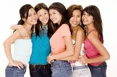 stock photo of asian woman  - five cute young asian women in colorful casual clothes - JPG