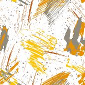 Seamless Pattern Of Yellow, Gray, Brown Blots Of Ink. Collection Of Color Ink Abstract Textures. Gru poster