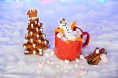 The Happy Marshmallow Little Man In Mag, Hand-made Eatable New Year Tree, Snow Decoration poster