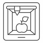 3d Food Printing Thin Line Icon. 3d Apple Print Vector Illustration Isolated On White. 3d Meal Print poster