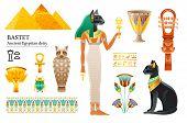 Ancient Egyptian Goddess Bastet Icon Set. Cat Deity, Cup, Flower, Mummy, Sistrum. God Of Cosmetics,  poster