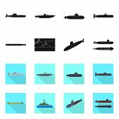 Vector Design Of War And Ship Logo. Set Of War And Fleet Stock Vector Illustration. poster