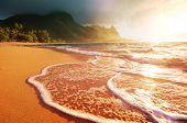 Beautiful scene in Tunnels Beach on the Island of Kauai, Hawaii, USA poster
