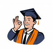 Happy Student In Graduation Gown And Cap. High School Graduation, Vector Illustration poster