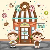 A Vector Of Cute Little Girl And Boy Selling Donut In Front Of A Donut Store poster