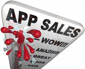 The words App Sales on a thermometer tracking the rising revenues and profits enjoyed by application