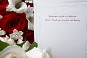 picture of wedding invitation  - Wedding invitation with red and white roses - JPG