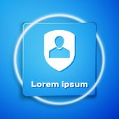 White User Protection Icon Isolated On Blue Background. Secure User Login, Password Protected, Perso poster