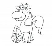 Coloring Book For Kids - Smiling With A Cute Ball And A Cap. Black And White Cute Cartoon Unicorns.  poster
